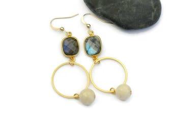 Labradorite Drop Earrings, Labradorite Dangle Earrings, Statement labradorite Gold Earrings, Boho chic earrings, Gypsy wedding, Holiday gift
