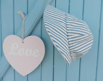 Blue and white stripes summer cap hat - head size between 47 and 50 cm