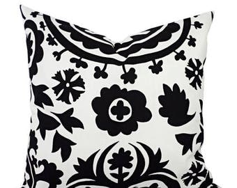 15% OFF SALE 2 Black and White Suzani Decorative Throw Pillow Covers - 12x16 12x18 14x14 16x16 18x18 20x20 22x22 24x24 26x26 Pillow Shams