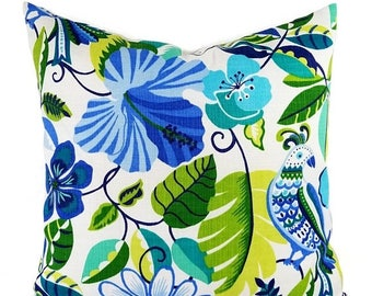 15% OFF SALE Two OUTDOOR Pillow Covers - Blue Pillow Cover - Green Throw Pillow - Floral Pillow - Decorative Pillow - Patio Pillow - Euro Sh