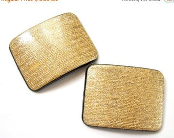 THE BIG SALE Vintage Large Gold and Matte Black Shoe Clips Simple Rectangle Sparkle Gold and Black Shoe Clips Vintage Accessories