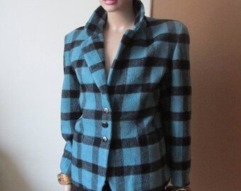 Vintage Agnès.b wool jacket.French vintage wool jacket.Checked wool jacket .