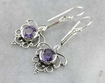 Synthetic Alexandrite Sterling Silver Drop Earrings, Color Changing Gem 4Y998CMQ-D
