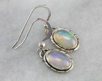 Sterling Silver Opal Earrings, Opal Drop Earrings, Cabochon Earrings KFKP95-P