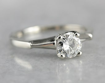 Vintage Diamond Solitaire White Gold Engagement Ring M6C1249Y-R