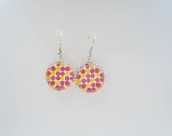 Multicolored polka-dot earrings
