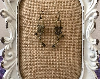 Antique Bronze Lock and Key Earrings