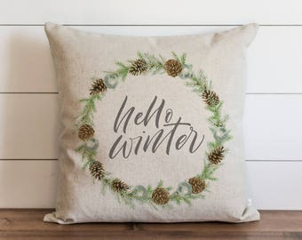Hello Winter Wreath 20 x 20 Pillow Cover // Christmas // Holiday // Winter // Throw Pillow // Gift // Accent Pillow