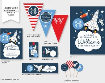 Astronaut Rocket Space Shuttle Invitation, Bunting Flags, Cupcake Toppers, Tags, Drink Labels, Backdrop, Poster (DIY Printables)
