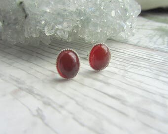 Natural Carnelian Stud Earrings - Silver Plated // 925 Sterling Silver Gemstone Jewellery - Orange Earstuds