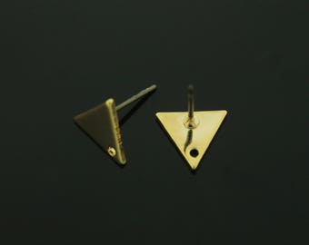 Triangle Blank Post, Hole for Charm, S65-P2, 2 pcs, Nickel Free, 10x9mm, 1mm thick, 16K Gold Plated Brass, Stamping Banks, Personalized Post