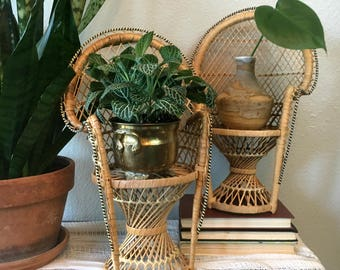 """Vintage Mini Wicker Peacock Chair / 16"""" Peacock Chair Plant Stand / 1970's Doll Chair"""