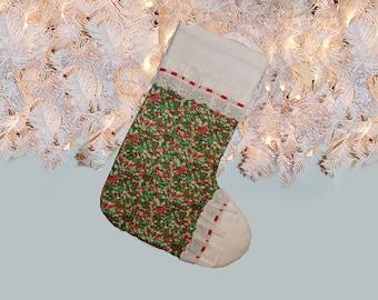 Retro Festive Green & Red Calico Mid Century Christmas Stocking with Eyelet Trim, Vintage Fabrics 1970s
