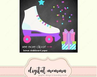 Roller Skate Party Clipart Set, Skate Clip Art, .PNG, Instant Download!