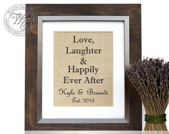 Love, Laughter and Happily Ever After Sign, Burlap Sign, Burlap Established Date, Name Sign, Burlap Print,