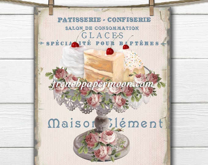 Vintage French Bakery Collage, Patisserie, Shabby Cupcakes, Roses, French Typography, Large Image, Printable Graphic Transfer Image 0118