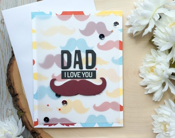 Fathers Day Card, Handmade Card, Dads Day Card, Fathers Day Cards, Card for Dad, Father, Grandpa, Card for Men, Husband, Mustache