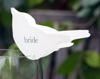 Personalised Bird Wedding Place Settings For Wine Glasses