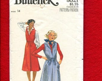 15% OFF SALE 1970's Butterick 5521 Retro Factory Uniform Style Jumper Size 14 UNCUT