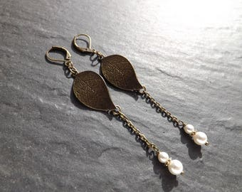 """Earrings """"Clarisse"""" sheet brass and freshwater pearls"""