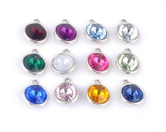 Big Crystal Birthstone Dangle Pendant Charms for Necklaces, Bracelets, and Floating Lockets with Silver Flat Backing and Clasp