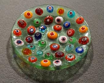 Vintage Italian Venetian Murano Art Glass Multi Colored Millefiori  Trinket Dish Plate Tray Home Decor
