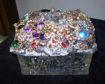 Bejeweled Crystal Jewelry / Keepsake Rectangular Box in Deep Rich Hues - FREE SHIPPING