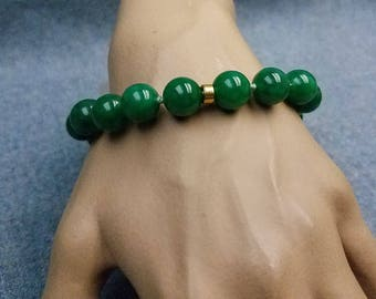 Lucky Chunky Green Jade Bead Bracelet 12.25 MM Hand Knotted 8.5 Inch