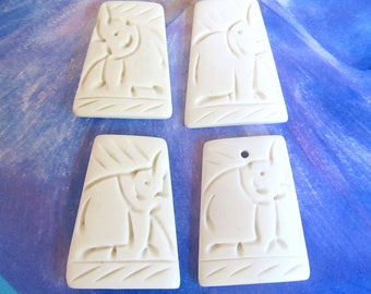 Bone Elephant Pendants, Carved Bone Elephant Cabachons, Cream White Elephant Cab, Rectangle Safari Animal, 4 Pcs 07184