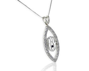 Evil Eye and Hamsa hand Pendant, 14K White Gold 25 Round Diamonds 0.80 CTW, black diamond, Hamsa pendant, evil eye necklace