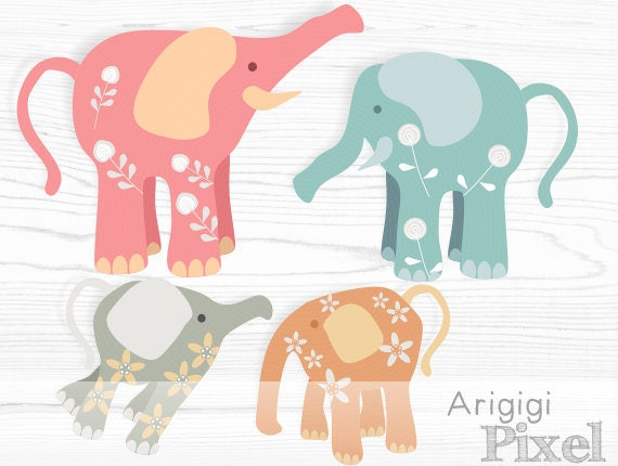 Elephant digital clipart set - pastel colors - flower patterned - download