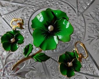 Green Pansy Enamel Flower Pin & Earrings Set