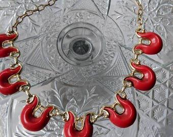 Red Plastic Vintage Necklace