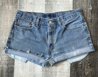 Levi's 505 High Waisted Shorts Vintage Levis Cut Off Levi Shorts High Waist Denim Cutoffs Distressed Red Tab Jeans Size Medium Large 10 12