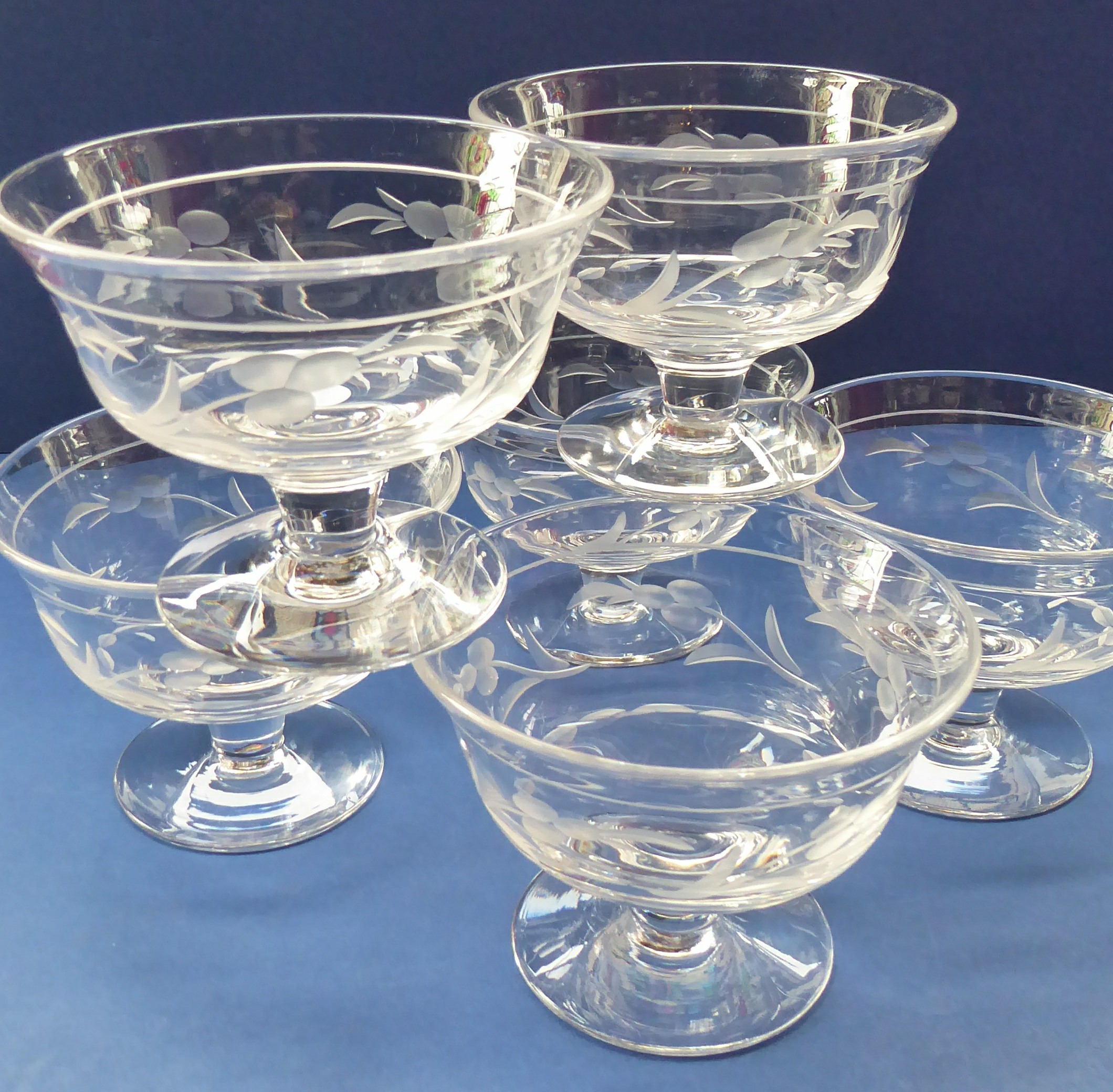 1950s Dishes: 1950s SIX Matching Stuart Crystal Sundae Dishes With