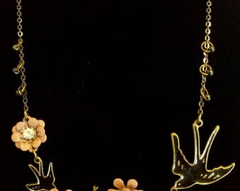 Bronze and Maroon Bird and Flower Pendant On a Chain Necklace