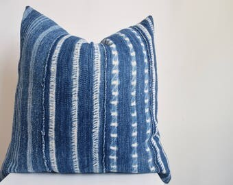 Authentic Vintage African Mud Cloth Pillow Cover Indigo with White Strip Detail