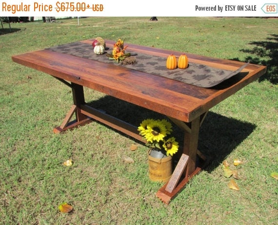 on sale 5 farmhouse kitchen table solid oak table solid oak barn wood primitive reclaimed wood dining room country table rustic kitc - Barnwood Kitchen Table