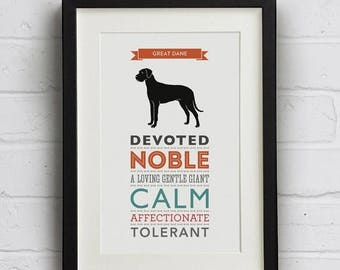 SALE 20% OFF Great Dane Dog Breed Traits Print - Great Gift for Great Dane Lovers!