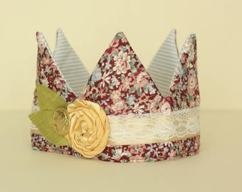 Burgundy Floral Fabric Crown with Gold flower trim