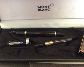 Mont Blanc Fountain Ink Pen with real sapphire needs new nib, although never used includes everything in photos