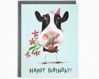 Happy Birthday! Birthday Cow - greeting card