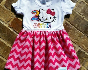 Girls appliquéd Hello Kitty dress with birthday number and embroidered name