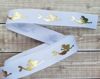 5/8 inch WHITE MERMAID grosgrain ribbon
