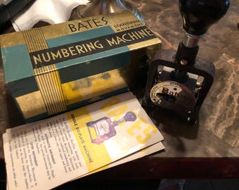 Antique office platform numbering machine by Bates