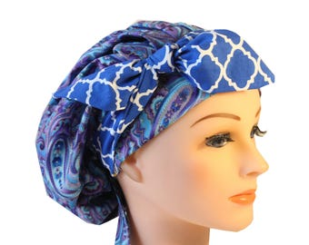Scrub Cap Surgical Medical Chemo Chef Vet Nurse Hat Banded Bouffant Tie Back Purple Paisley Blue Quaterfoil Tie 2nd Item Ships FREE
