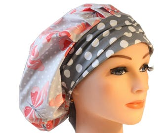 Scrub Cap Surgical Medical Hat Chemo Chef Vet Doctor Nurse Hat Banded Bouffant Tie Back Peach Butterfly Grey Dot  2nd Item Ships FREE