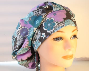 Scrub Cap Surgical Scrub Hat Chemo Chef Nurse Vet Dentist Hat Tie Back Bouffant Muted Blues Purple Black 2nd item ships Free