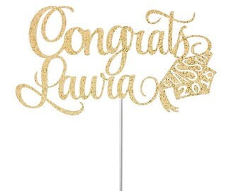 Custom Graduation Cake Topper, Congrats Grad Cake Topper Graduation Decorations High School Graduation Cake Topper College Grad Party