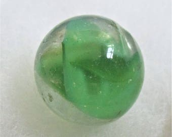 "Green Shooter Marble Large Green Vintage Marble 1"" Cat's Eye Antique Collector Marble Children's Game Vintage Toy Classic Green Art Glass"